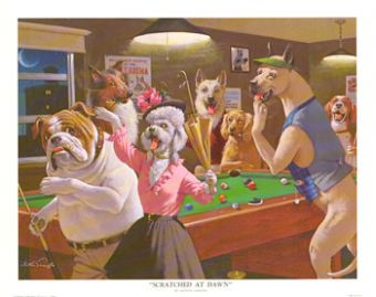 Dogs playing pool prints